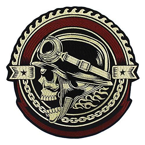 EMDOMO Stickerei-Ausrüstung, Totenkopf-Aufnäher, zum Aufbügeln, für Jacke, Rückseite, Punk, Bike, 1 Stück