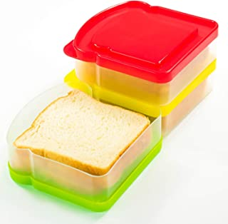 DecorRack 3 Pack Sandwich Containers -BPA FREE- Plastic Sandwich Box for Kids, Food Storage Container for Lunch and Snacks (Assorted)