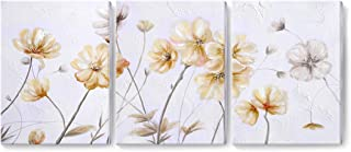 Ejart Flower Wall Art 100% Hand Painted Oil Painting on Canvas 3 Pieces Contemporary Framed Artwork Neutral Floral Decor for Living Room Bedroom Girls Room Farmhouse Yellow Ready to Hang