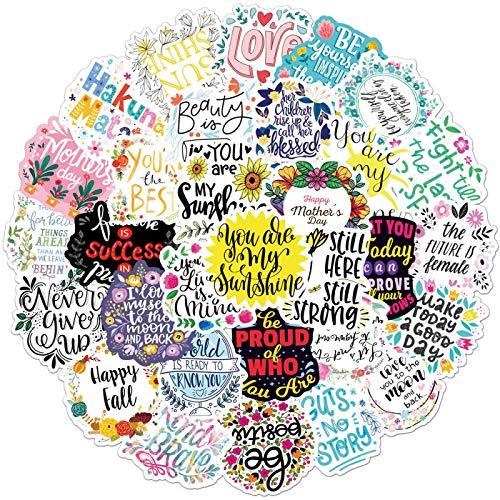 WYZNB 50 unids Texto Creativo Tema Inspiración Corta Frencia Literaria Fan Sticker Trolley Case Notebook Pvc Sticker