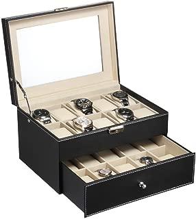 Boylymia Watch Box 20 Mens Case Glass Top Black Display Organizer Lockable