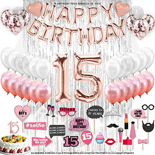 15th Birthday Decorations With Photo Props | 15 Birthday Party Supplies | Quinceanera 15 Cake Topper Rose Gold | Banner Rose Gold Confetti Balloons for her Silver Curtain Backdrop Props Photos 15thBday