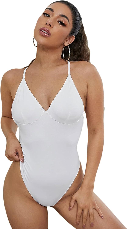 Milumia Women Backless V Neck Sleeveless Bodysuit Top Spaghetti Straps Leotard