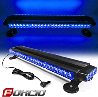 """FOXCID Blue 26"""" 54 LED Emergency Warning Security Roof Top Flash Strobe Light Bar with Magnetic Base, for Plow or Tow Truck Construction Vehicle"""