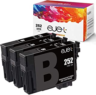 ejet Remanufactured Ink Cartridge Replacement for Epson 252 XL 252XL T252XL to use with Workforce WF-7710 WF-7720 WF-3620 WF-3640 WF-7610 WF-7620 WF-3630 Printer (3 Black)