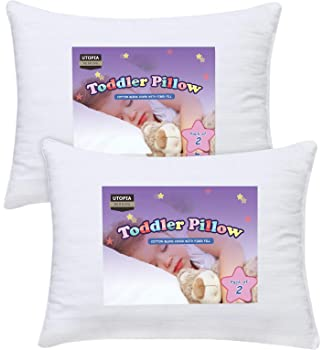 Utopia Bedding 2 Pack Toddler Pillow - Baby Pillows for Sleeping - Cotton Blend Cover - Pack of 2 Kids Pillows - Whit...