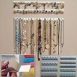 9 en 1 ganchos de almacenamiento para colgar en la pared, organizador de joyas, collar y colgador, color blanco