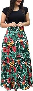 فساتين ماكسي نسائية صيفية بوهو عالية الخصر، فستان زهري كاجوال قصير الاكمام