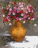 Flor roja Diy pintura digital por números pintura acrílica abstracta moderna pared arte lienzo pintura para decoración del hogar A5 60x75cm