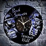 KingLive Bud Spencer Terence Hill Dampfspiel Vinyl Wanduhr Home Decor Handmade Design Weihnachtsgeburtstagsgeschenk für Männer Frauen (led)