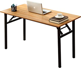 Need Computer Desk Office Desk 55 inches Folding Table Computer Table Workstation No Install Needed,Teak Black AC5BB-140X