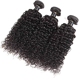 Hairpieces Hairpieces Fashian Brazilian Deep Wave Weave Curly Hair Extension Bundles 8 Inch-26 Inch Jerry Curly Natural Extensions for Daily Use and Party (Color : Black, Size : 24inch)