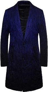 Zytyeu Men Jacket Autumn Slim Fit Long Sleeve Button Lapel Long Retro Fashion Printed Blazer Lightweight Tops Line Print B...