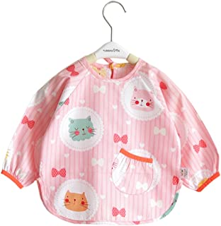 Pink Cat Cotton Waterproof Sleeved Bib Baby Feeding Bibs Art Smock-Ant