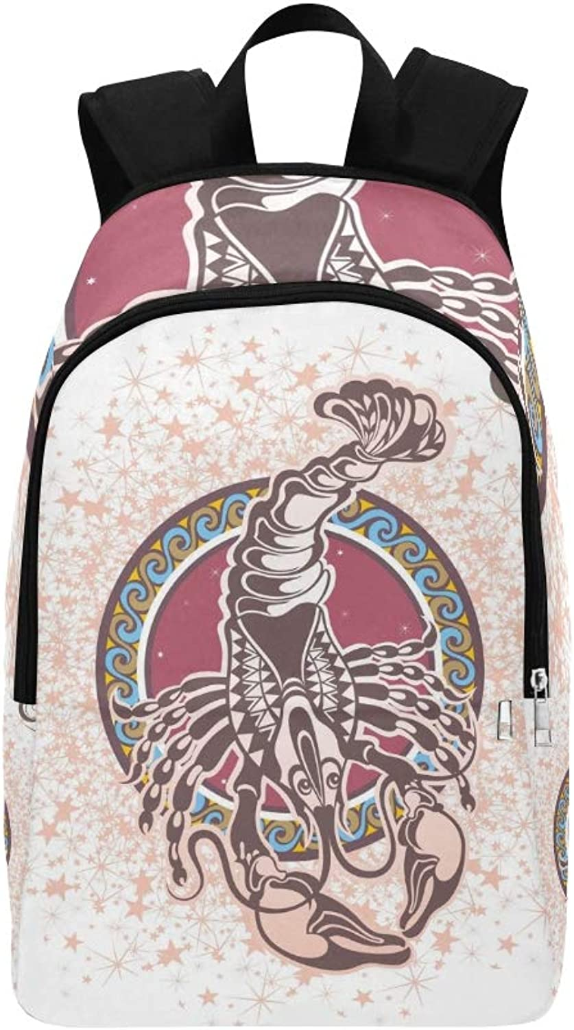 Cancer Zodiac Sign Casual Daypack Travel Bag College School Backpack for Mens and Women