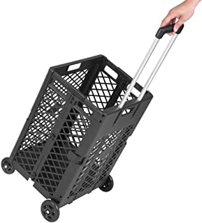 FRITHJILL Mesh Rolling Cart,Folding and Collapsible Hand Crate,55 Lbs Capacity,Black