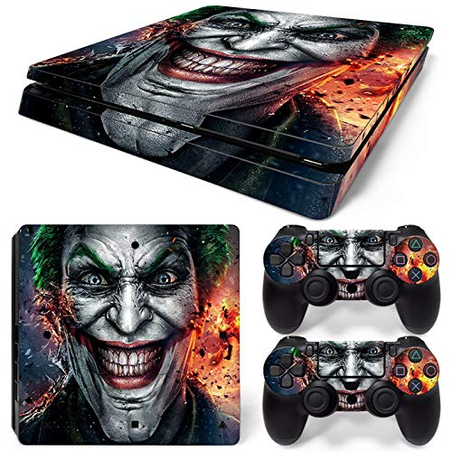 PS4 Slim Skin Joker Vinyl Decal Cover for Sony Playstation 4 Slim + 2 Controllers Sticker