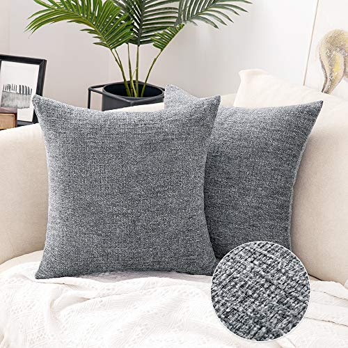 MIULEE Set of 2 Chenille Throw Pillow Covers Decorative Soft Cushion Covers Cases Modern Square Pillowcases for Couch Sofa Bed 18x18 Inch Grey
