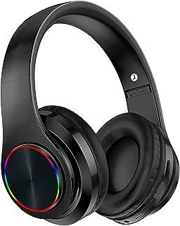Yostyle Audífonos Inalámbricos de Diadema, Audífonos Inalámbricos Bluetooth con Entrada de Audio de 3.5 mm, Auriculares para Juegos Micrófono con Reductor de Ruido Integrado, Luces de Respiración LED de Siete Colores, Ideal para PC o Teléfono Inteligente (Negro)