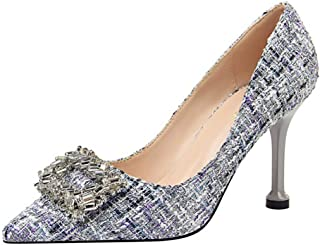 Large Size Shoes Small Size High Heels Female New Fine with Shallow Shoes Female Sense Pointed Banquet Shoes Workplace OL Work Shoes Female (Color : Gray, Size : 36)