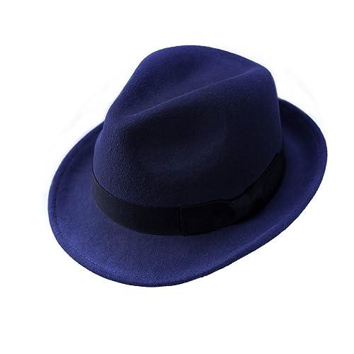 7b594b3130c Wool Trilby Hat Felt Fedora Hats Men Women Dress Wide Brim Gangster Gatsby  Caps with Black