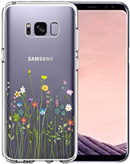 Unov Case Compatible with Galaxy S8 Clear with Design Soft TPU Shock Absorption Slim Embossed Floral Pattern Protective Back Cover (Flower Bouquet)