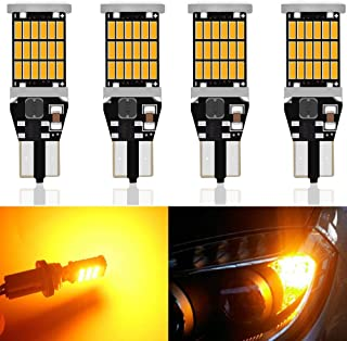 4-Pack 921 912 T10 T15 Amber/Yellow 800 lumens 12V-24V Extremely Bright Non-Polarity Canbus Error Free AK-4014 45pcs Chipsets LED Bulbs For Side Marker Light Brake Bulb