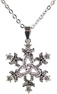 Trinity Knot Necklace Irish Snowflake Pendant Rhodium Plated Made in Ireland