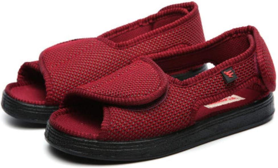 Nwarmsouth Zapatos ortopédicos Ajustables,Zapatos de enfermería de eversión del pie Sueltos, Zapatos Transpirables para Lesiones en el pie-37_ Rojo Vino,Zapatos ortopédicos Ajustables