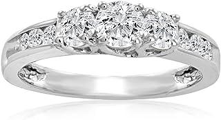 IGI 认证 1 克拉总重 3 颗宝石加钻石周年纪念戒指套装 10K 白金(可选尺寸 5-8)