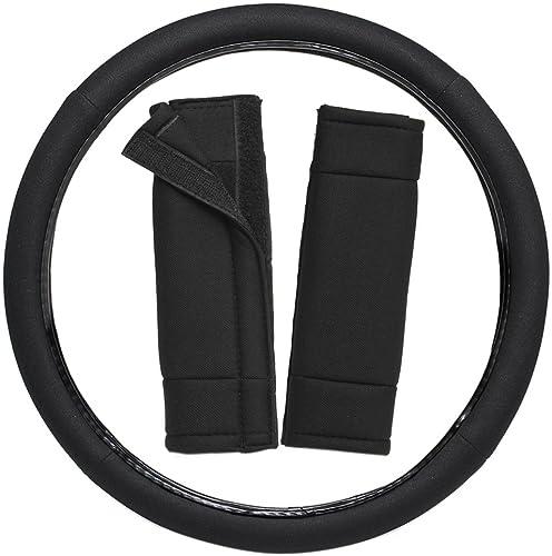 popular OxGord 3pc Set Flat Cloth Mesh Steering Wheel Cover Seat Belt Pads, Universal popular 15 Fits Most Car, SUV, Van Trucks - Solid online Black sale