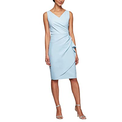 Alex Evenings Slimming Short Ruched Dress With Ruffle (Petite and Regular)
