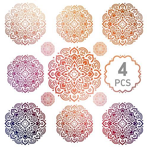 Kesote 4X Schablonen Mandala Wiederverwendbar Dotting Schablone für Basteln DIY (5 cm, 15 cm, 20 cm, 30 cm)