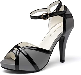 Women's White Black Peep Toes Buckle Dress Heeled Sandals