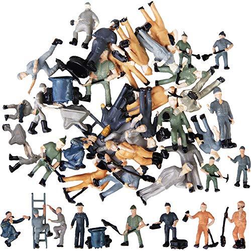 BESTZY Spur H0 Figuren Bauarbeiter an der Schiene 20 Stück Maler Spielwaren Bahnarbeiter 1:87