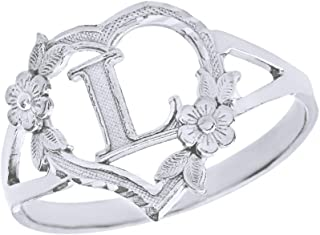 CaliRoseJewelry Silver Initial Alphabet Personalized Heart Ring - Letter L