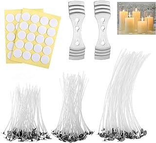 Kit de Fabrication de Bougies, 150 Pièces Mèches de Bougies(3 Taille,20cm,15cm,10cm) avec 40 Pièces Mèche Autocollants et ...