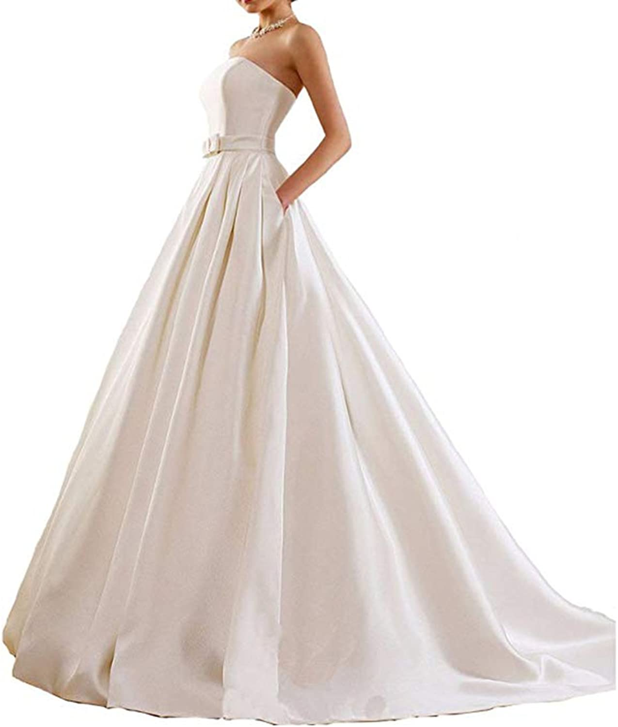 Alilith.Z Sexy Strapless Ball Gown Lace Wedding Dresses for Bride 3 4 Sleeves Satin Bridal Gowns 2018 with Pockets