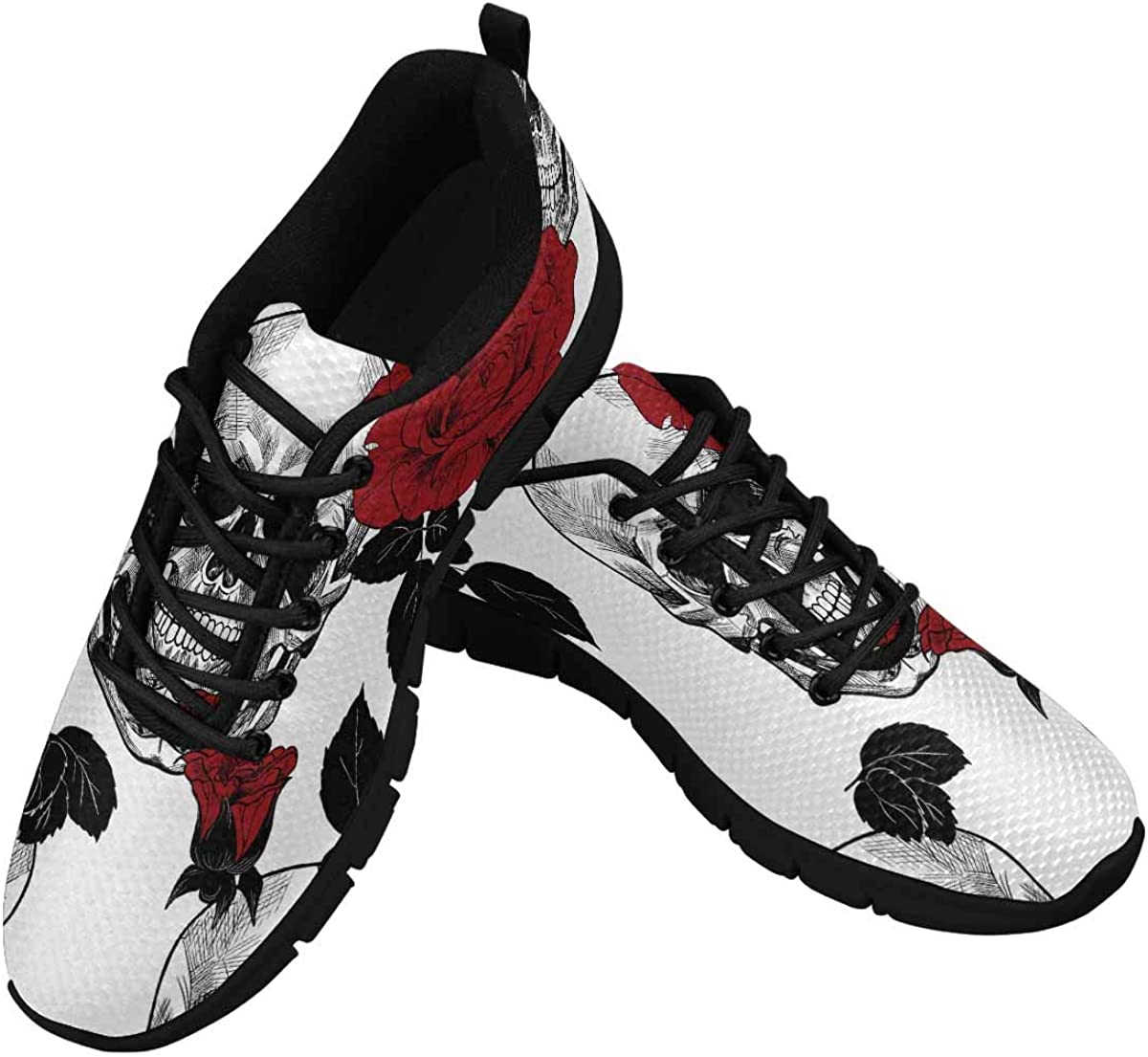 INTERESTPRINT Skull and Red Roses Pattern Women's Athletic Walking Shoes Breathe Comfort Mesh