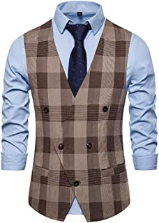 YOJAP ベスト メンズ ジレベスト 夏 薄手 Vネック チェック柄 ビジネス スーツ フォーマル フィット 結婚式 紳士 仕立て スーツベスト 大きいサイズ オールシーズン着れる シンプル ブレザー
