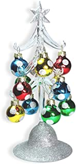 BANBERRY DESIGNS Glass Christmas Tree - LED Lighted Silver Glitter Tree with 12 Colorful, Removable Ball Ornaments - 8 1/4