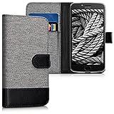 kwmobile Custodia Compatibile con Motorola Moto E4 Plus - Cover a Portafoglio Porta Carte Tessuto Simil Pelle Stand - Case Magnetica