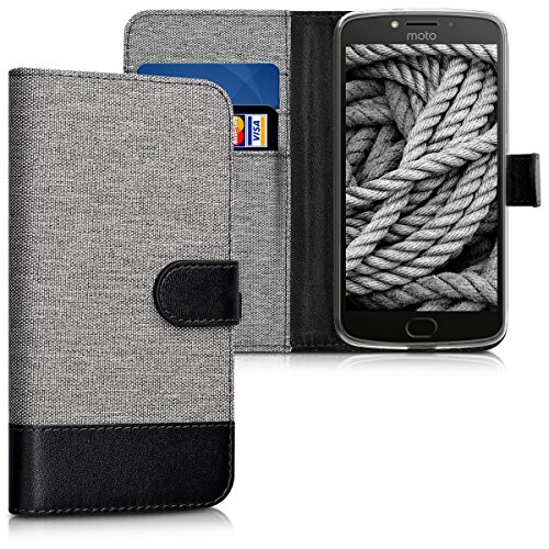 kwmobile Wallet Hülle kompatibel mit Motorola Moto E4 Plus - Hülle Kunstleder mit Kartenfächern Stand in Grau Schwarz