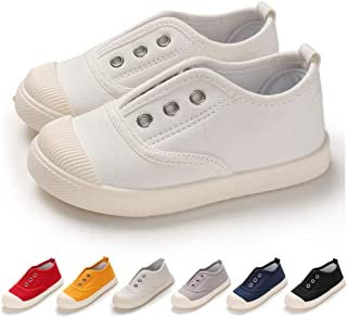TIMATEGO Toddler Kids Boys Girls Canvas Slip On Shoes Lightweight Casual Sneakers School Runing Tennis Shoes