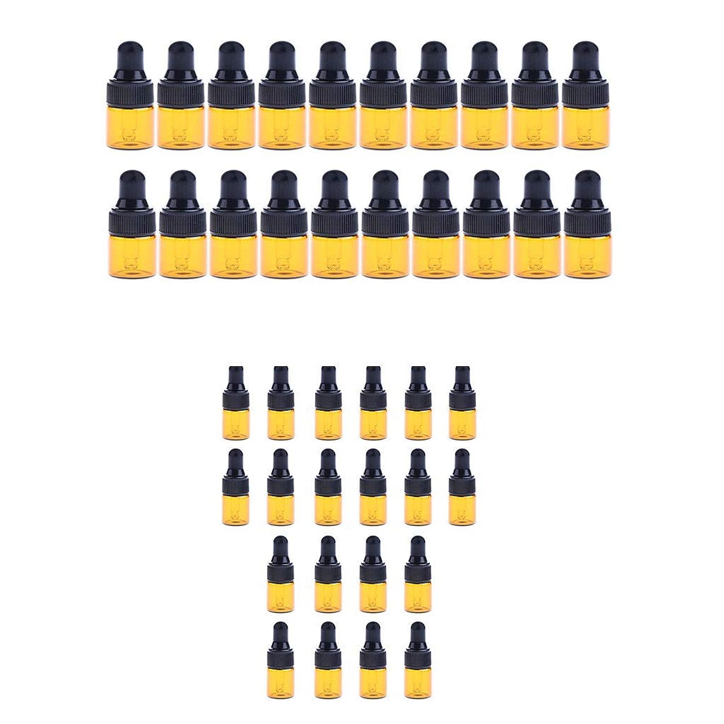 リハーサル微視的再びFenteer 小分けボトル スポイトボトル ガラス瓶 詰め替え 精油 香水 保存用 2ml / 3ml 40個入