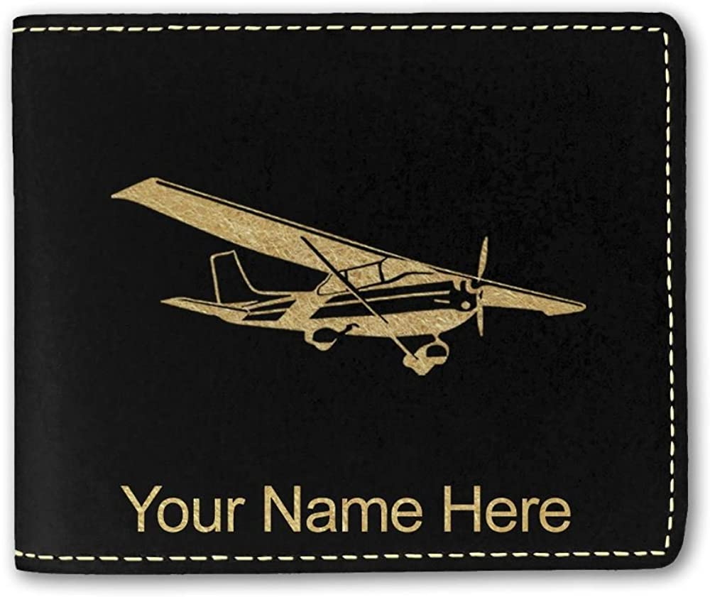 Faux Leather Wallet, High Wing Airplane, Personalized Engraving Included