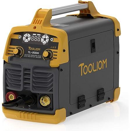 TOOLIOM 200A MIG Welder 3 in 1 Flux MIG / Solid Wire / Lift TIG / Stick Welder 110 / 220V Dual Voltage Welding Machine