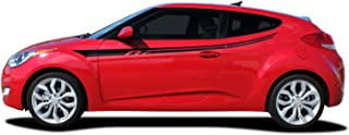 MoProAuto Pro Design Series Rush : Fits 2011-2017 Hyundai Veloster Side Door Body Accent Rocker Panel Vinyl Graphic Decal Stripes (Fits All Models) (Color-3M 41 Azure Blue Metallic)