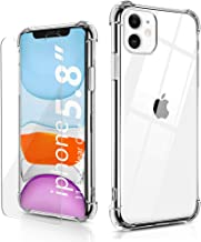 BELONGME Compatible with iPhone 11 Pro Case with Built-in 2 Screen Protectors, Crystal Clear Case with 4 Corners Shockproof Protection Soft Scratch-Resisitant TPU Cover for iPhone 11 Pro 5.8 inch.