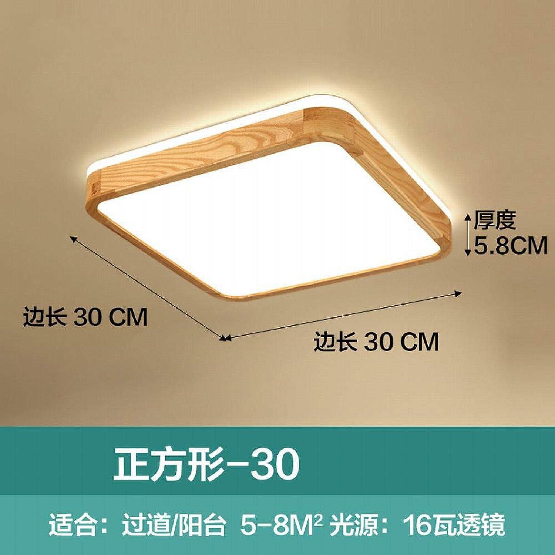 Zhouzhou666 Led Deckenleuchte Ultradünne Schlafzimmer Lampe Log Zimmer Wohnzimmer Esszimmer Massivholz Lampen, Quadratisch Neutrales Licht 16 Watt